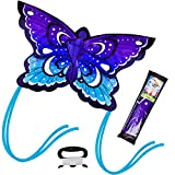 JOYIN Blue Butterfly Kite Easy to Fly Huge Kites for Kids and Adults with 262.5 ft Kite String, Large Beach Kite for Outdoor Games and Activities