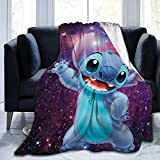 Manta de franela de Stitch, suave, cómoda y cálida, para cama infantil de verano, edredón fino adecuado (puntada de 2,135 x 200 cm)