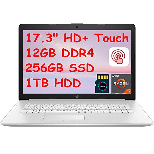 "2021 HP 17 Premium Laptop Computer I 17.3"" HD+ Touchscreen Display I AMD Hexa-Core Ryzen 5 4500U (>i7-8550U) I 12GB DDR4 256GB SSD 1TB HDD I DVD WiFi BacklitWebcam Win 10 + Delca 32GB Micro SD Card"