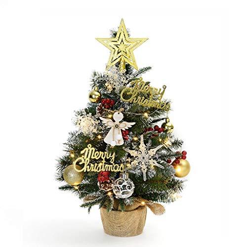 Bureau arbre de Noël, artificiel mini sapin de Noël, avec des jeux de lumières LED et des ornements, des décorations de Noël de luxe (Color : Green)