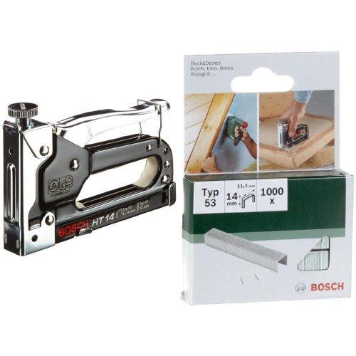 Bosch 0 603 038 001  - Grapadora manual HT 14 - - - 0603038001 (pack de 1) + 2 609 255 823 - Grapa o 53 (pack de 1000)