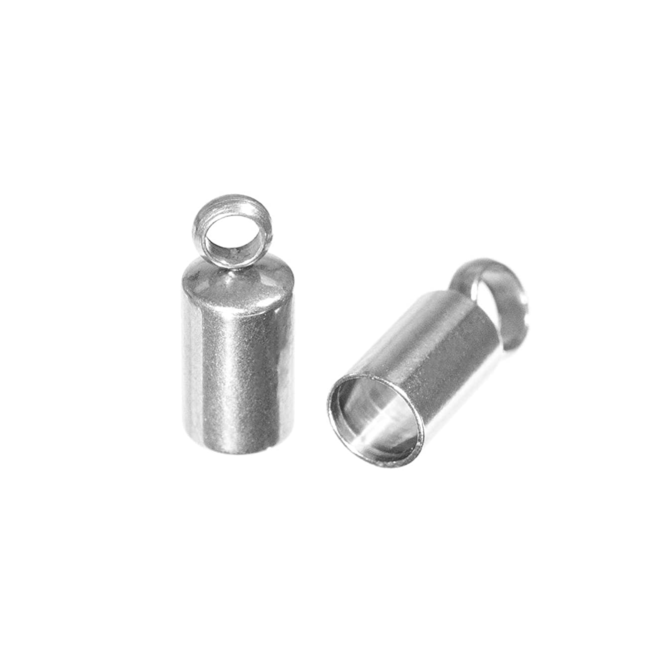 Craft County 10 Pack x Sterling Silver End Caps Barrel for 3MM Leather Cord