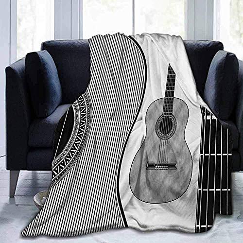mallcentral-EU Gitarren Picknickdecke Monochrom Design Gestreift Akustik Klassik Instrumente Folk Country Musik Konzert Schwarz Weiß