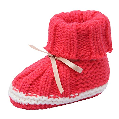 Vivobiniya Baby knitted shoes Toddler baby socks Hand crochet shoes newborn shoes (12-18m, rose red(s2))