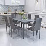 YFMXO Dining Table and Chairs Set 6, Modern Gorgeous Glass Table with 6 High Back Faux Leather Chairs Set 140CM X 80CM Table, Grey
