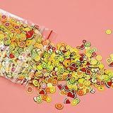 AnXiongStore 1000 unids/Set Pegatinas 3D para decoración de uñas Fruta Estrella Lazo Flor cerámica Suave DIY Rebanada pequeña decoración calcomanías para uñas