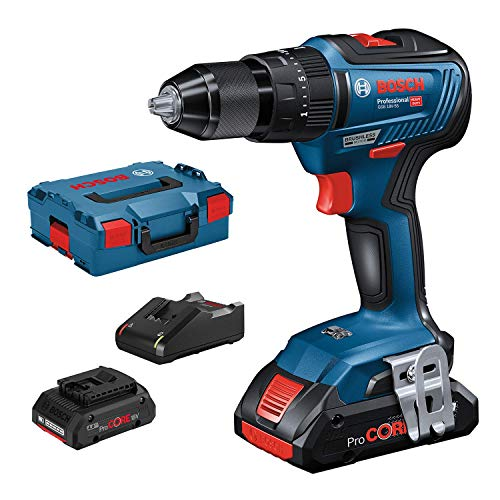 Bosch Professional GSB 18V-55 Accuklopboormachine, 2 x 4,0 Ah ProCore accu, 18 volt systeem, boor-Ø in metselwerk: 10 mm, in L-BOXX)