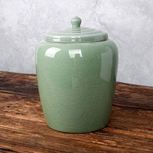 HOCOL Kolumbarium-Urne für menschliche Asche, schöne Keramik, langlebig, groß, 2110 ml Art Deco Trompete pflaumengrün