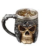 AUVSTAR Gothic 3D Skull Mug - Taza de acero inoxidable Seleton Drink Mug para bebidas, Medieval Viking Warrior Skull Armor Drinking Mug, Decoración de Halloween, Party Trick Cup