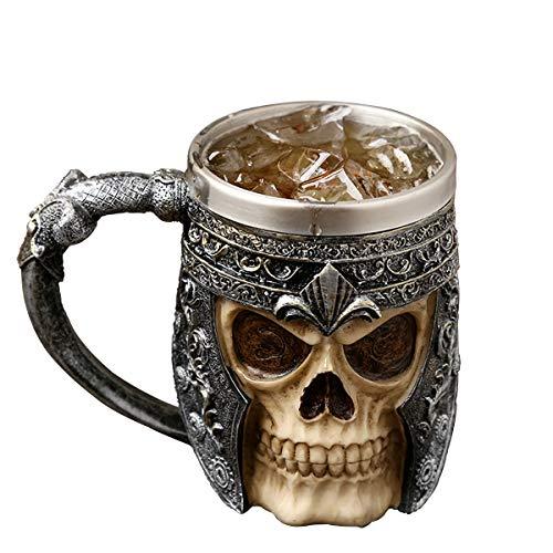 auvstar Gothic 3D Skull Kaffeebecher,Totenkopf Bier Tassen,Edelstahl Skeleton Trinkbecher Becher,Mittelalterliche Schädel Drinkware Becher zum Kaffee/Getränke/Saft