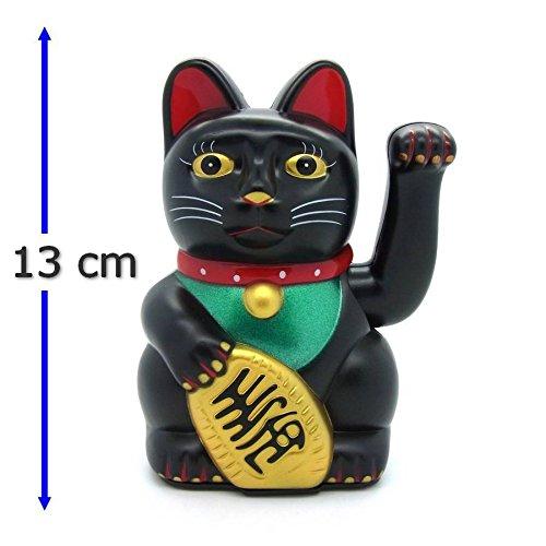 Starlet24 winkende Glückskatze Winkekatze Lucky Cat Maneki-Neko Katze Glücksbringer (Schwarz, 13cm)