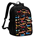 asfg Resistente a Las Manchas I Love My Dog Dachshunds Multifunctional Personalized Customized USB Backpack, Student School Outdoor Backpack,Travel Bag Laptop Bookbags Business Daypack.