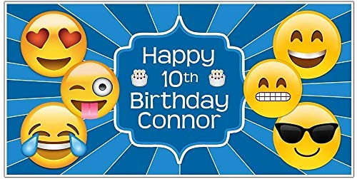 Emoji Birthday Banner Personalized Party Decoration Blue Backdrop