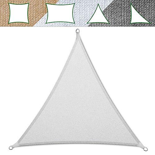 casa pura Voile d'ombrage Triangulaire Balcon, pergola, Jardin | polyéthylène, résistant | Triangle, Anti UV - 5x5x5m, Blanc