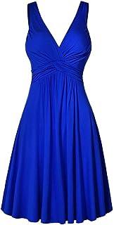 Vestido de Noche con Cuello en V XL Falda Acampanada Plisada Falda Acampanada Plisada Mujer Vestido de Color sólido Vestido de Novia Elegante