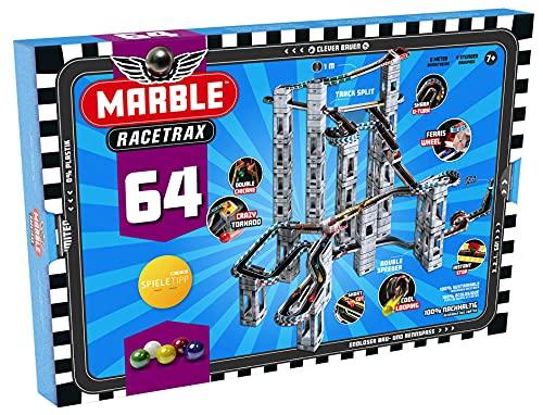 Marble Racetrax 869034 - Murmel Rennbahn Starter Set 64 teilig, Kugelbahn mit 9 Meter Laufstrecke & 5 Murmeln, Murmelbahn Bastelset, Bauset aus FSC Karton, Konstruktionsset für Kinder ab 10 Jahre