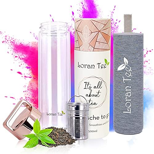 Loran - Teeflasche Teamaker mit Sieb to go 500 ml   Doppelwandig   Isoliert   Glasflasche mit Edelstahl Sieb   Trinkflasche mit Filter   Rose - Goldener Deckel   BPA-frei Thermoflasche