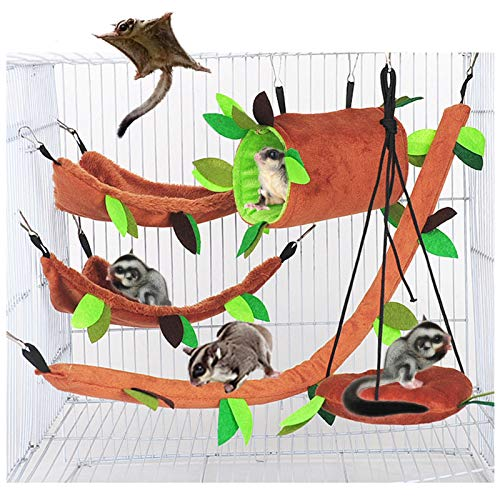 SEIS 5pcs Hamster Hanging Cage Accessories Set Leaf Wood Design Small Animal Hammock Channel Ropeway Swing for Guinea Pig Rat Birds Parrot Gerbil Sugar Glider Squirrel (5 Pcs)
