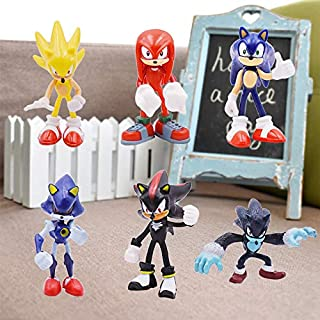 Sonic Anime Figure 6 PCs Set Sonic Shadow Tails Characters Animals Toys PVC Figure Toys for Home Office & Cake Decor (Soni...