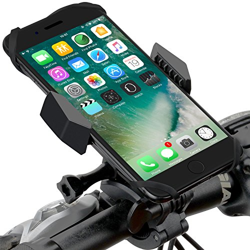 Bike mount/bike holder,bike phone holder Silicone Strap-two Mountain & Road Cradle Holder for iOS/Android phone,GPS GoPro and ATV, with One-button Released,360° Rotatable mountain bike accessories