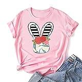 VEMOW Camiseta de Mujer Manga Corta Cuello Redondo, 2021 Moda Corazón Impresión Basica Clásico Camiseta Suelto Blusas Camisas Tops Verano Tops Casual Fiesta E-Girl Original T-Shirt(C Rosado,3XL)