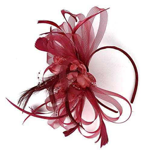 MISOWN Women's Flower Mesh Ribbons Feathers Fascinators Derby Headband and A Clip Wedding Cocktail Tea Party Hat (Red Wine)