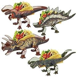 3. Funwares Fold Flat Dinosaur Taco Holders – Set of 4