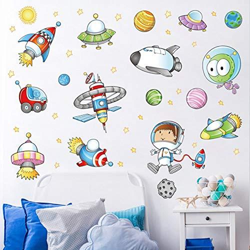 TIVOPA Étoiles Univers Espace Planètes Terre Soleil Soleil Saturne Mars Affiche Mural École Décor Système Solaire Autocollants Muraux De Bande Dessinée pour Les Chambres d'enfants