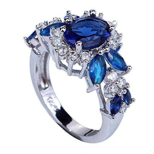Yazilind Elegante königliche Kristallblumen Topaz schellt Hochzeits-Schmucksachen für Frauen Size10