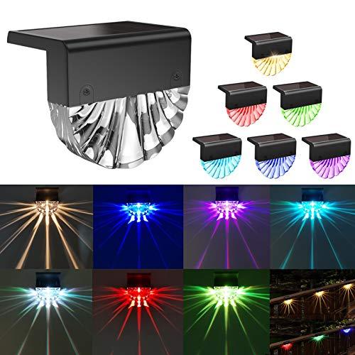 Luces Led Solar de Piso, Lampara de Valla para Cubierta, Luces de Escalera IP55 Movimiento Luz Cálida y 7 Colores Cambiados para Exterior Iluminación Decorativa para Patio Jardín Césped(6 Piezas)