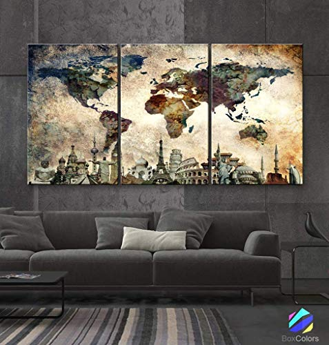 """Original by BoxColors LARGE 30""""x 60"""" 3 panels 30x20 Ea Art Canvas Print Map World Wonders Old paper texture wall home decor (framed 1.5"""" depth) M1844"""