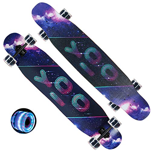 """Buy TB-Scooter Complete Skateboards, Standard Skateboards with Colorful Flashing Wheels for Adults Beginners Kids Boys Girls Teenager- 47""""x 9"""" 8 Layer Maple Cruiser Pro Skate Board"""