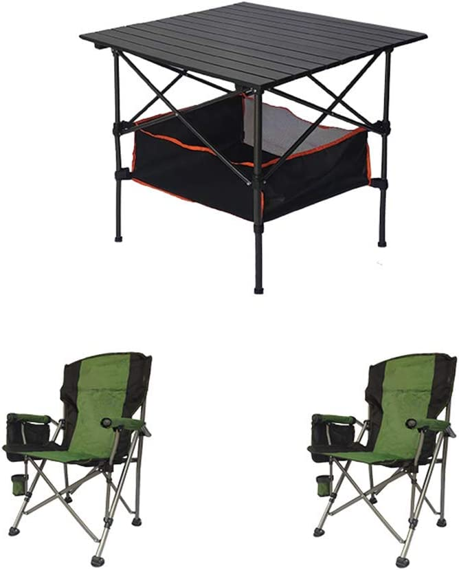 XIN Genuine Small Portable Special price Camping Black Table Folding Three-Piece T