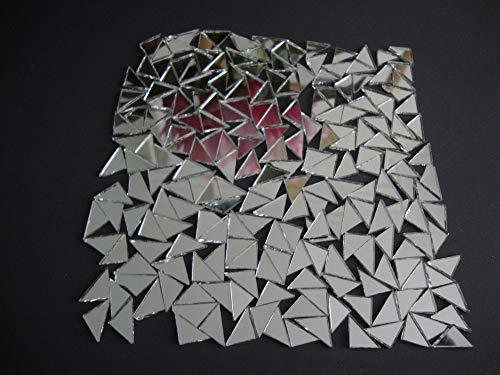 500 Stück Mosaik-Spiegelfliesen silberfarben, dreieckig, ca. 1 x 1 x 1,5 cm, 2 mm dick