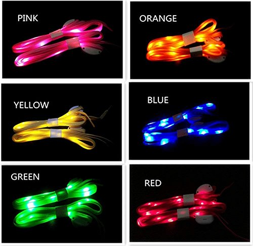 Atcket LED Cordones 6 par – de Alta Visibilidad Suave Nailon Light Up, con 3 Modos de balón en 6 Colores para Noche Seguridad Running Ciclismo, o Cool Disco Party, Cosplay, Hip-Hop Danza