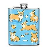 Miedhki Flask by Home Aggressive Flasque en acier inoxydable pour alcool, vin ou bourbon Slim courbé, Welsh Corgi Dog