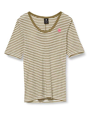 G-STAR RAW Damen T-Shirt Silber Slim Fit, Mehrfarbig (Smoke Olive/Milk Stripe 9024-B279), Medium