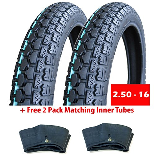 MMG Bundle Motorcycle Tires 2 Tires Size 2.50-16 (P43), Includes 2 Pack Matching Inner Tubes, Performance Motorcycles Dual On/Off Road Slightly Knobby Tread
