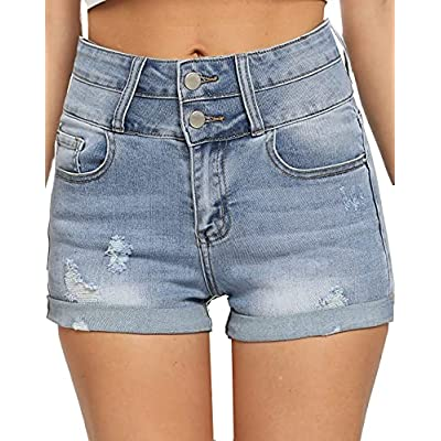 Amazon - 50% Off on Women Jean Shorts High Waisted Ripped Stretchy Denim Shorts Frayed Raw for Women