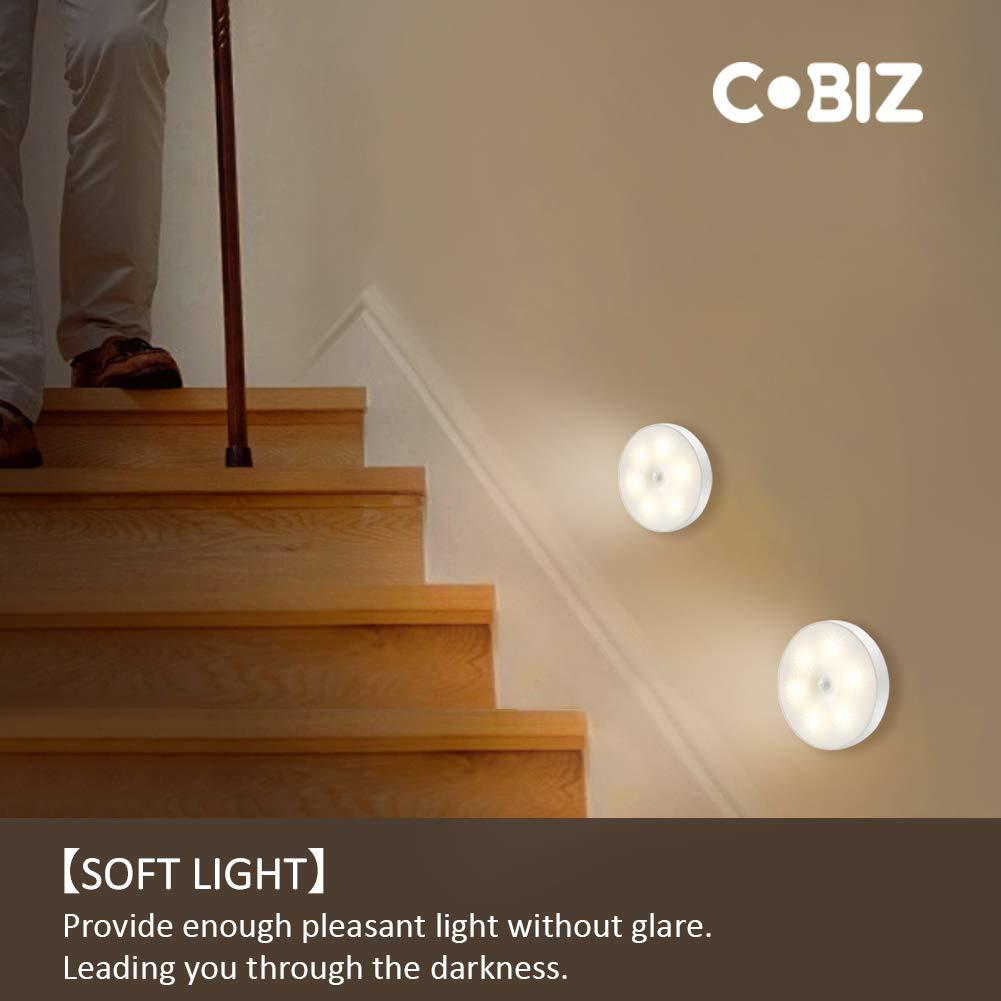 Luz Nocturna con Sensor de Movimiento (2 Pack), Cobiz Luz Activo Luz para Niños con Auto Encendido/Apagado para Dormitorio Pasillo Baño Habitación de Bebé Cocina Garaje Armario, Pasillos, Escaleras: Amazon.es: Iluminación