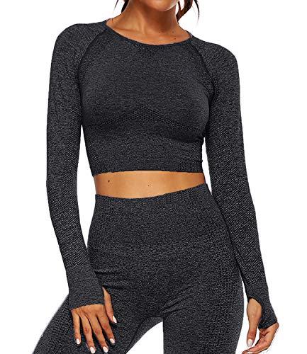 Tops Yoga Camiseta Deportiva Sin Costura Mangas Larga Fitness Mujer Gimnasio #3 Top Negro S