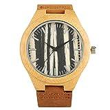Armbanduhr Uhr Uhren Holzuhr Herren Streifen Zifferblatt Bambusuhren Freizeituhren Bambus Lederband Herrenuhr Geschenke 2019 Neuankömmling Armbanduhr