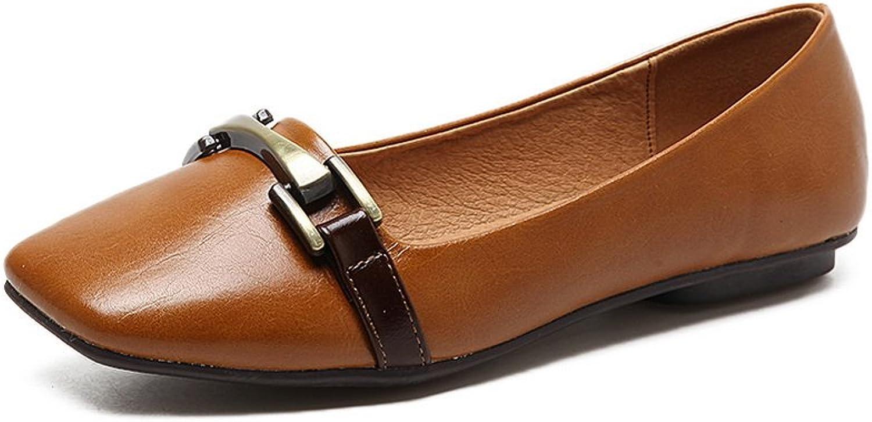 Ladola Womens Square-Toe No-Closure Solid Urethane Flats shoes