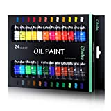 Ohuhu Oil Paint Set, 24 Oil-Based Colors, 12ml/0.42oz x 24 Tubes Non-Toxic Oil Painting Set Supplies for Canvas Painting Artist Kids and Beginners Great Back To School Art Supplies Gifts Ideal