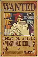 海賊アニメVINSMOKE ICHLJL さびた錫のサインヴィンテージアルミニウムプラークアートポスター装飾面白い鉄の絵の個性安全標識警告バースクールカフェガレージの寝室に適しています