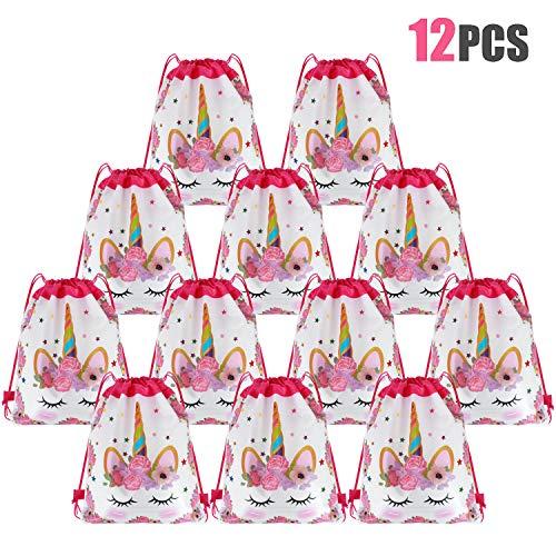 Tacobear 12pezzi Borsa Regalo Unicorno Borsa da Coulisse Zaino Unicorno Borsa di Caramelle Unicorno Sacca da Palestra per Bambini Ragazze Regalo Sacchetto Feste Compleanno (Bianca)