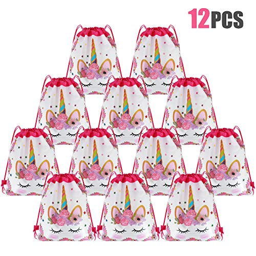 Tacobear 12 Piezas Unicornio Bolsa Regalo Bolsa de Cuerdas Unicornio Bolsa con cordón Mochila Bolsa Dulces Gimnasio Backpack para Infantil Niñas Fiesta Cumpleaños Party (Blanco)
