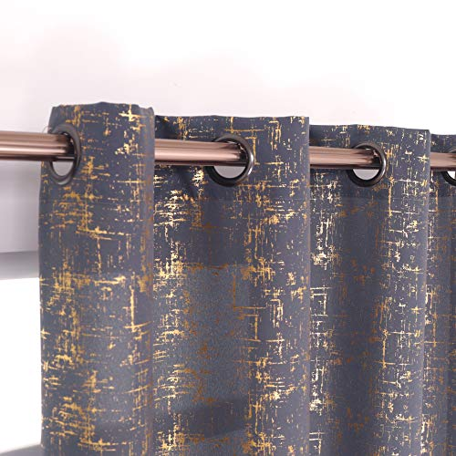 """Taisier Home Gold Foil Print Linen Textured Curtains Geometric Dots Pattern Design Curtains for Bedroom Living Room Thermal Insulated Window Treatment 2 Panels 84"""" L,Gray and Gold Curtains Print"""