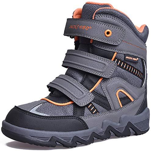 JACKSHIBO Winterstiefel Schneestiefel Junge Kinderstiefel Warme Boots Weiche Stiefel Schneeschuhe Kinder Winterschuhe für Junge, Grau Orange 30 EU