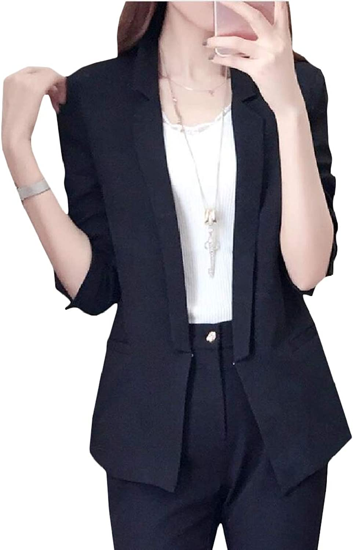 CromoncentCA Women Coat Solid Lapel Slim Three Quarter Sleeve Blazer Jackets